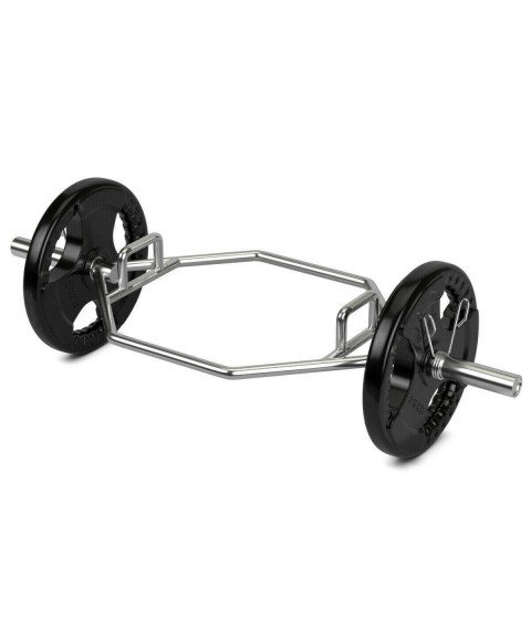 6t7Deadlift Bar Olympic Hexagon Weight Lifting Hex Trap Squat with 2 Snap Spring