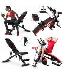 Adjustable Workout Weight Lifting Bench Home Workout Stationary Exercise Bike