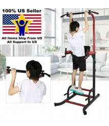Adjustable Height Pull-up Bar Power Tower Workout Fitness Gym Exercise Tool USA