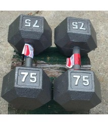 2 NEW Weider Cast Iron Hex 75 lb Dumbbell Set | Knurled Grip | 150 lbs