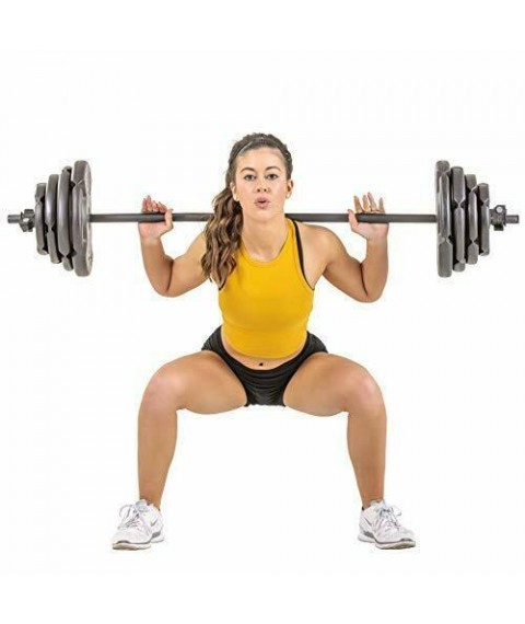 Barbell Set With 60LB Plates For Home Fitness Workout Weight Lifting Training
