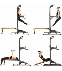 Workout Dip Station with Sit up Bench,Gym Pull Up Bar Dip Station,Multi-