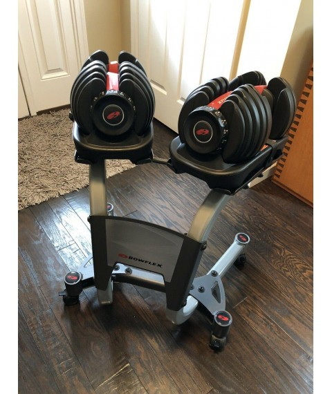 Bowflex SelectTech 552 Pair Adjustable Dumbbells Weights 5 to 52.5 Lbs w/ Stand