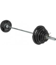 300lbs IRON Olympic Weight Set w/ BAR AND COLLARS