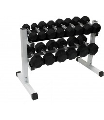 Ader 256lb Black Rubber Dumbbells 3,5,8,10,15,20,25,30Lbs with 2 Tier 36