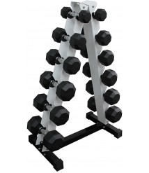 Ader Octagon Rubber Dumbbell Set 5, 10, 20, 30, 40, 50 (Total 310pounds)  with Rack and  4' Rubber Mat