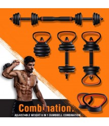 6 in 1 Multifunctional Barbell Sets Weight-Adjustable Fitness Equipment for Women and Men, Solid Steel Dumbbells Barbell Set with Connecting Rod Kettlebells Push Up Stand,10KG