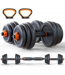 6 in 1 Dumbbell &Kettlebell & Barbell Set,30kg Adjustable Dumbells Weights Set, Four Fitness Modes Perfect for Home Gym Exercise and Strength Training (66LB)