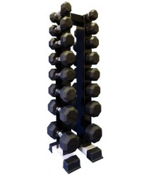 Ader 8 Pairs Octagon Rubber Dumbbell Set with Vertical Dumbbell Rack