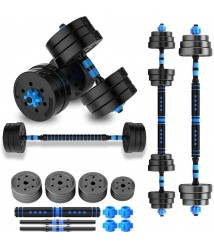 2 in 1 Adjustable Weights Dumbbell Set Free Weights Dumbbells with Connecting Rod Lifting Dumbbells Used As Barbell for Whole Body Workout Home Gym 2 Pair/Set