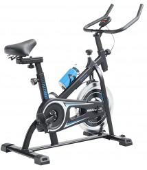Alpha Sports Exercise Indoor Cycling Bike Stationary, Silent Belt Drive Bike for Home Gym with Adjustable Resistance, LCD Display and Comfortable Seat Cushion