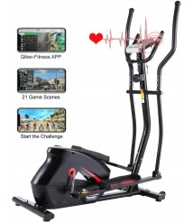 ANCHEER Elliptical Machine, APP Connect Elliptical Trainer with 10 Level Magnetic Resistance, Multi-Functional Display, 390lbs Weight Capacity Exercise Machine for Home and Office Cardio Training