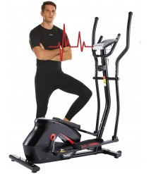 ANCHEER Elliptical Machine, Elliptical Trainer with APP Connected, 390 Weight Capacity & Large Multi-Function LCD Display for Walking at Home
