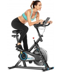 ANCHEER Exercise Bike, Indoor Cycling Stationary Bike Belt Drive with Adjustable Resistance, LCD Monitor, Pad/Phone Holder, Comfortable Cushion, Quiet for Home Cardio Workout
