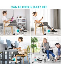 ANCHEER Mini Under Desk Elliptical Machines, 2 in 1 Elliptical Exercise Machine, Compact Elliptical Trainer Wih Built-in Display Monitor & Magnetic Smooth Quiet Driven for Home and Office