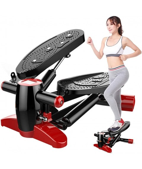 AAADRESSES Twisting Step Fitness Machine, Adjustable Stepper Stepping Machine Exercise Equipment with Bands and LCD Monitor,Red