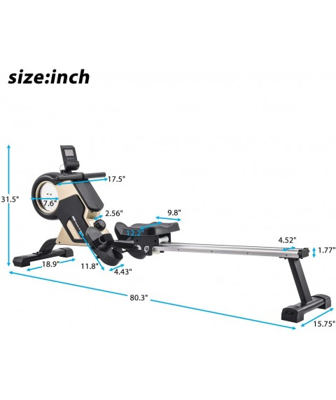 - XMGHTU - Rowing Machine Magnetic Rower Machine Home Rower with 8 Levels Resistance Adjustment Fitness Equipment for Home Gym, 340 LBS Weight Capacity