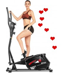 ANCHEER Elliptical Machine for Home Use, Elliptical Exercise Machine Trainer with APP Control Large Pedal & LCD Monitor Quiet Smooth Driven Max Weight Capacity 390lbs