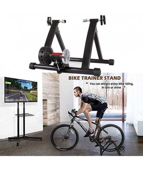 Ablita Magnetic 8 Resistance Level Indoor Bike Trainer Bicycle Stand Stationary Black Exercise Bike