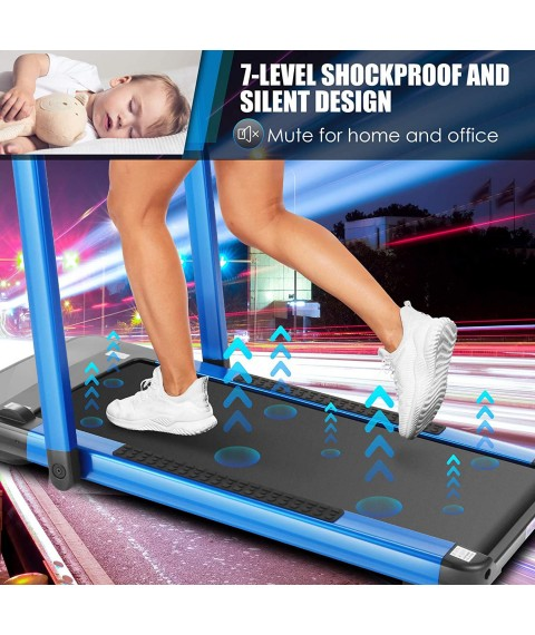 2 in1 Folding Treadmill, 2.25HP Under Desk Electric Treadmill with Watch Remote Control and Sports APP, Large Touch Screen Exercise Fitness Machine for Home/Office Use