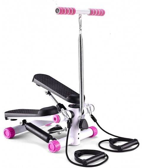 AAADRESSES Exercise Equipment, Twisting Step Fitness Machine Adjustable Stepper Stepping Machine with Bands and LCD Monitor