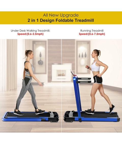Aceshin 2 in 1 Under Desk Folding Treadmill,Electric Motorized Portable Pad Treadmills Walking Jogging Running Exercise Fitness Machine with Remote and APP Control,LED Display for Home Office