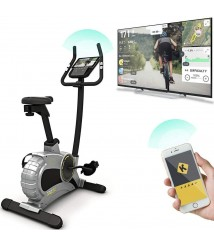 Bluefin Fitness TOUR 5.0 Exercise Bike   Home Gym Equipment   Exercise Machine   Kinomap   Live Video Streaming   Video Coaching & Training   Bluetooth   Smartphone App   Black Grey Silver