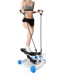 1L S Fitness Adjustable Stair Stepper,Fitness Cardio Exercise Trainer with Resistance Bands, Mini Stepper for Indoor Workout