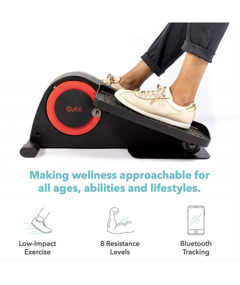 Cubii Pro Seated Under Desk Elliptical Machine for Home Workout, Pedal Bike Cycle Motion, Bluetooth sync Fitbit & Apple, Whisper Quiet, Compact Mini Exerciser w/Adjustable Resistance & LCD
