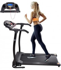 AW Folding Electric Treadmill Portable Running Walking Treadmill with LCD Display Easy Assembly for Home Exercise