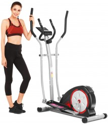 ANCHEER Elliptical Machine, Elliptical Trainer for Home Use with Pulse Rate Grips and LCD Monitor, Magnetic Smooth Quiet Driven Max Capacity Weight 350LBS