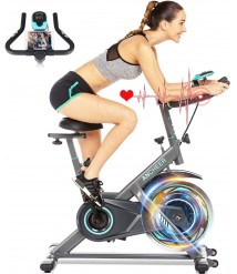 ANCHEER Exercise Bike, Indoor Cycling Bike Stationary with Heart Rate Monitor & LCD Monitor, Comfortable Seat Cushion, 49LBS Heavy Flywheel, Multi - Grips Handlebar