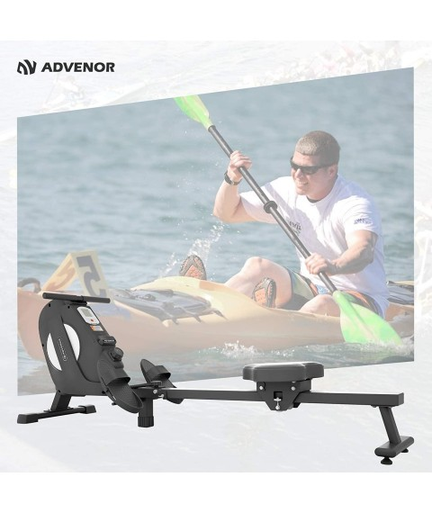 ADVENOR Magnetic Rowing Machine Foldable Rower with LCD Monitor,Device Holder for Home Use