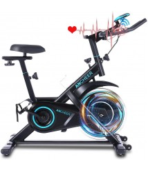 ANCHEER 49Lbs Exercise Bike Stationary, 330 Lbs Weight Capacity - Cycling Bike Heart Rate Monitor & Tablet Holder and LCD Monitor for Home Workout